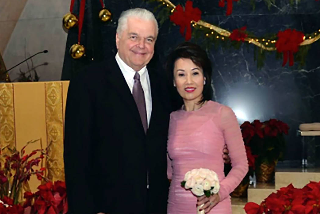 Nevada Gov.-elect Steve Sisolak married Kathy Ong at Guardian Angel Cathedral in Las Vegas on Friday, Dec. 28, 2018. (from @SteveSisolak on Twitter)