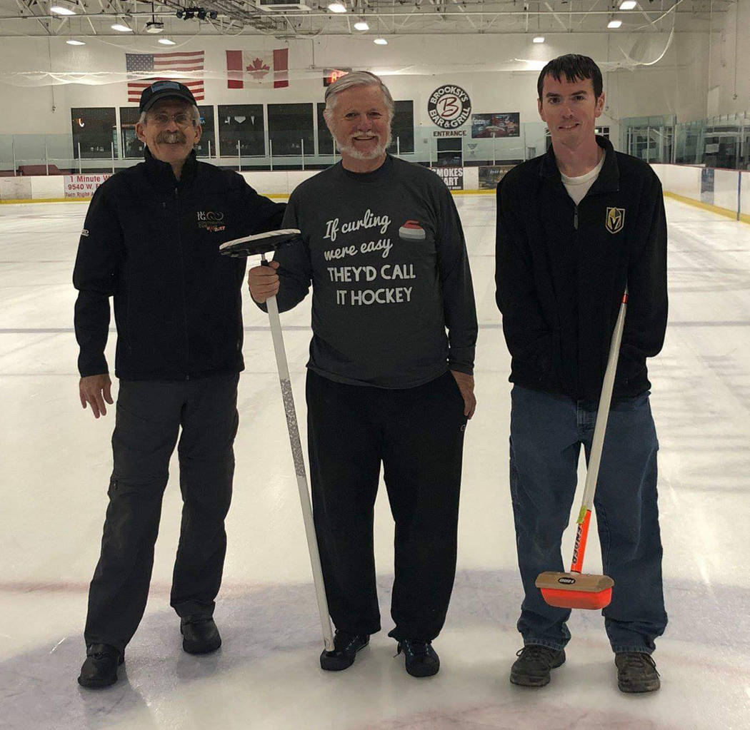 Karen Duryea/Special to the Pahrump Valley Times From left, Brad Whitlock, Tom Duryea and Matt Duryea at the Las Vegas Ice Center during Las Vegas Curling Club recreational league play.