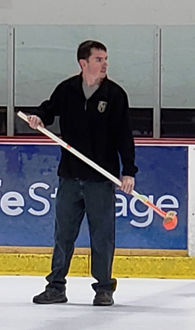 Karen Duryea/Special to the Pahrump Valley Times Matt Duryea of Pahrump has his broom ready at the Las Vegas Ice Center during the Las Vegas Curling Club's recreational league play.