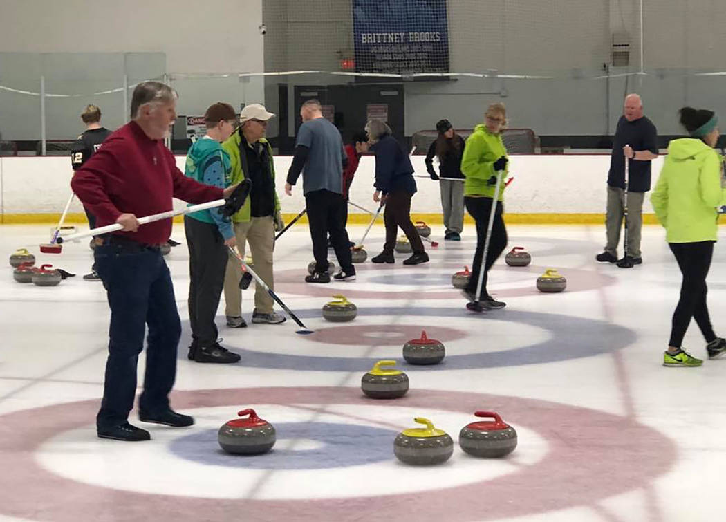 Karen Duryea/Special to the Pahrump Valley Times Members of the Las Vegas Curling Club gather on some of the five sheets available for recreational league play at the Las Vegas Ice Center.