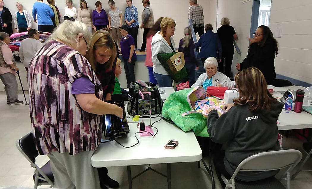 Selwyn Harris/Pahrump Valley Times At more than 100 strong, members of the Shadow Mountain Quilters regularly meet at the Bob Ruud Community Center each Thursday, barring holidays. Last month, jus ...
