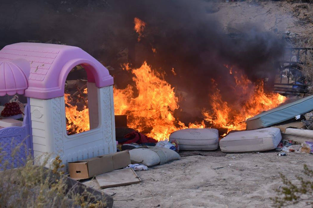 Special to the Pahrump Valley Times On New Year's Eve, fire crews were summoned twice, at 7:59 and 8:40 a.m. for a rubbish fire near the Salvation Army business along Dahlia Street. Fire crews ...