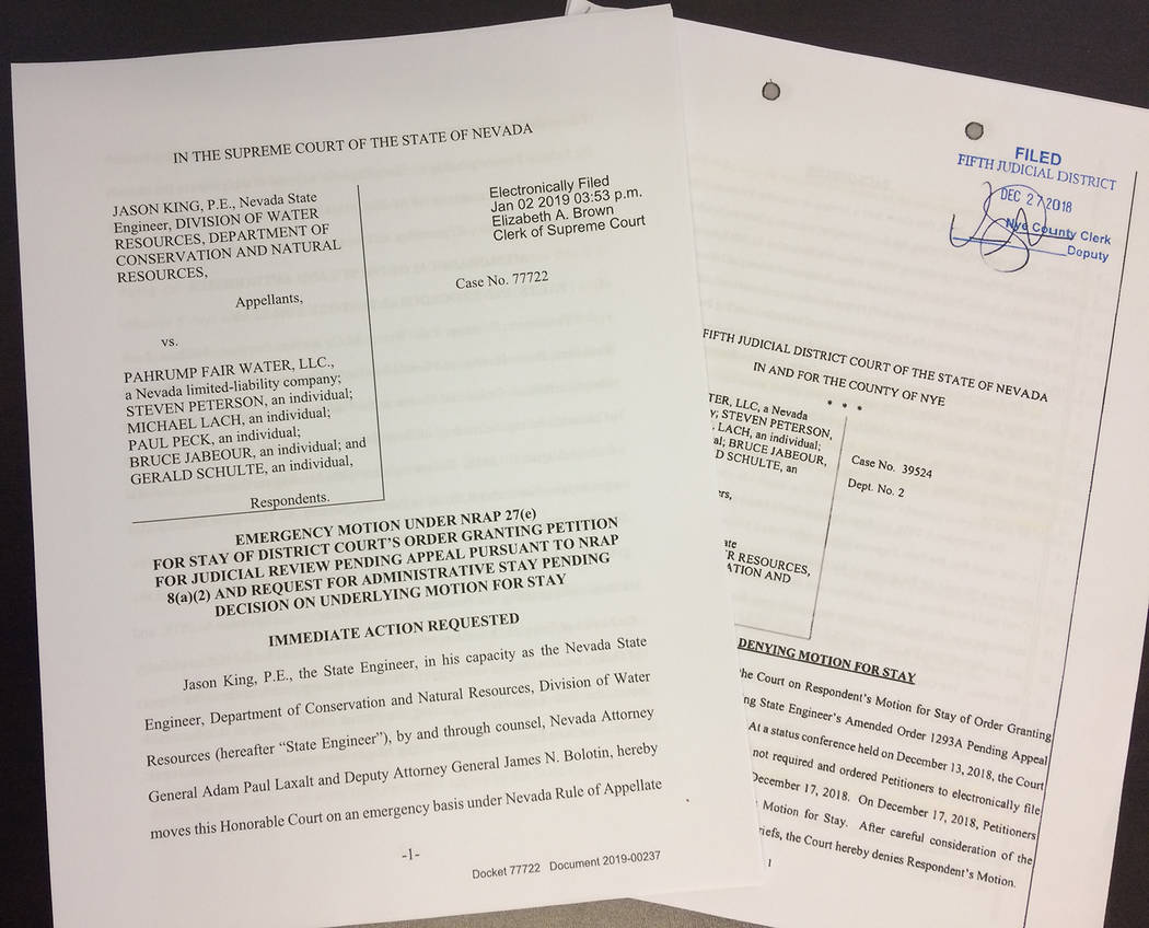 Robin Hebrock/Pahrump Valley Times Pictured are documents detailing the Fifth Judicial District Court's denial of the Nevada State Engineer's motion for stay of the ruling reversing water Order #1 ...