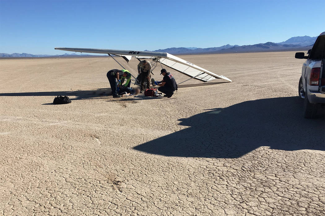 Special to the Pahrump Valley Times The pilot of an ultra-light aircraft sustained serious injuries after crashing the plane onto the dry lake bed south of Homestead Road on Thursday Jan. 3. Pahru ...