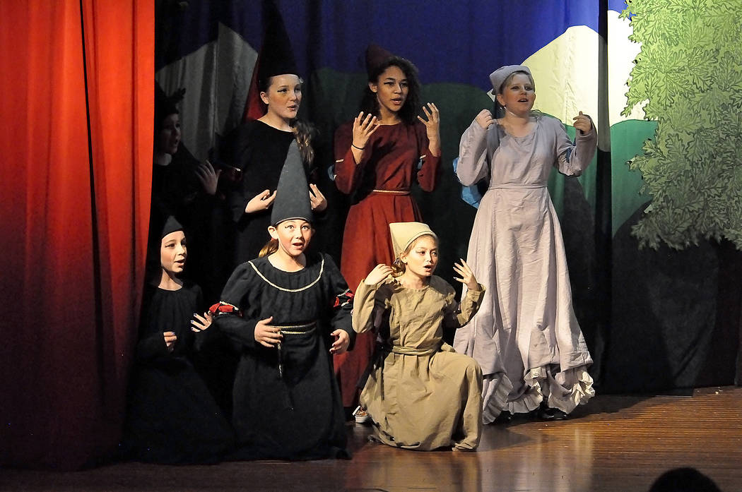 """Horace Langford Jr./Pahrump Valley Times A group of school-aged girls played the damsels in distress in a performance of """"King Arthur's Quest"""" on Jan. 20, 2018 in Pahrump. This year's produ ..."""