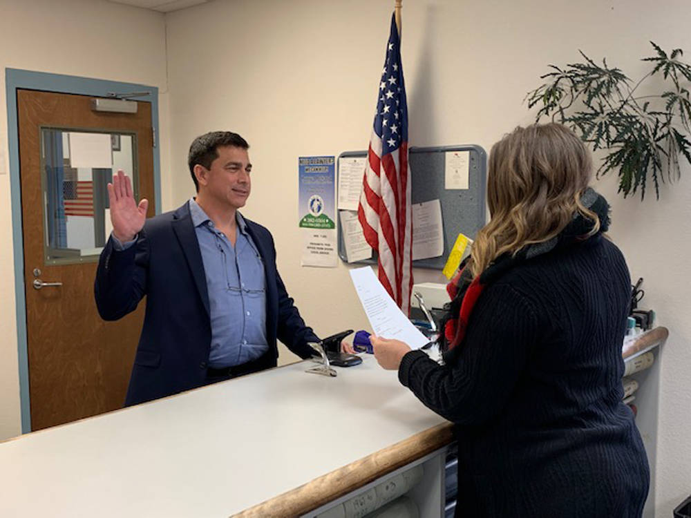 Special to the Pahrump Valley Times John Prudhont is pictured being sworn in as Nye County Treasurer following his appointment by the Nye County Commission on Jan. 7.