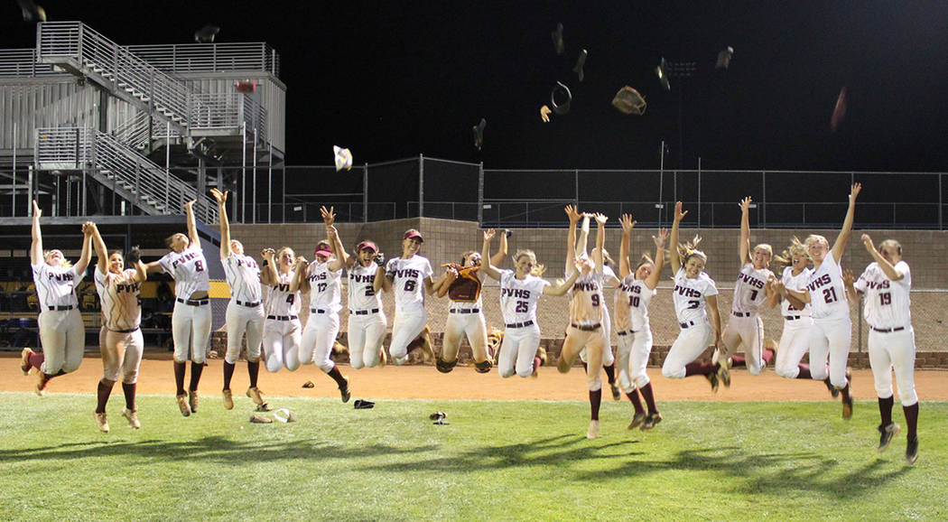 Cassondra Lauver/Special to the Pahrump Valley Times Pahrump Valley High School softball players celebrate a win over Moapa Valley in Boulder City that clinched a spot in the 2018 Class 3A state t ...