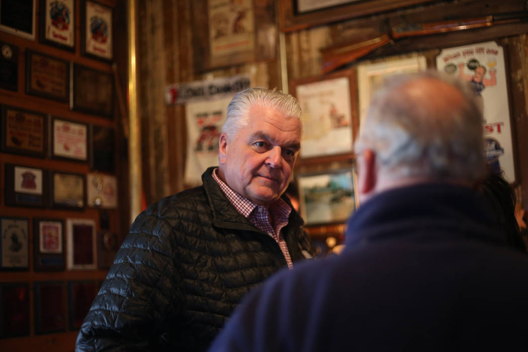 Edison Graff/Speical to the Pahrump Valley Times Nevada Gov. Steve Sisolak speaks with locals and others at the Happy Burro Chili and Beer in Beatty on Jan. 4, 2019. Sisolak traveled through sever ...