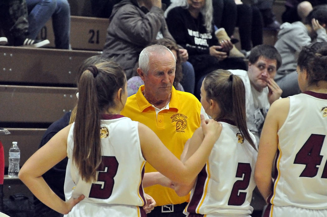 Horace Langford Jr./Pahrump Valley Times Pahrump Valley girls basketball coach Bob Hopkins talks to his players during a recent game. Hopkins' Trojans defeated Chaparral on Tuesday night, 45-39.