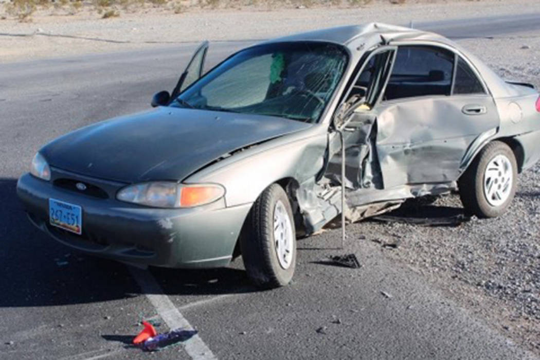 A 57-year-old man died in a crash last month in Pahrump after failing to yield, according to the Nevada Highway Patrol. (Nevada Highway Patrol Southern Command)