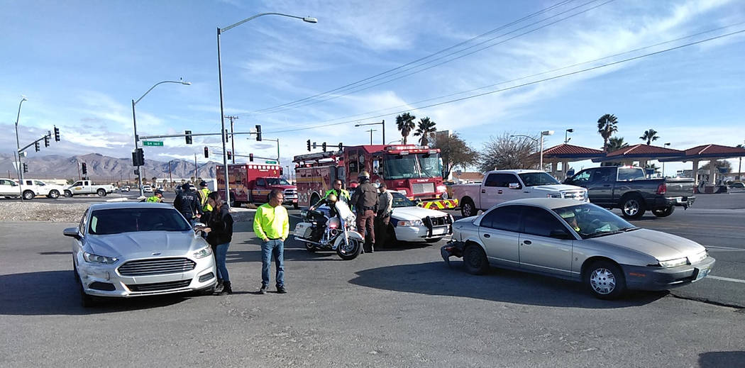 Selwyn Harris/Pahrump Valley Times No injuries were reported following a two vehicle crash at westbound Basin Avenue and Highway 160 just before 1:30 p.m. on Monday Jan. 7. Officials from Nevada H ...