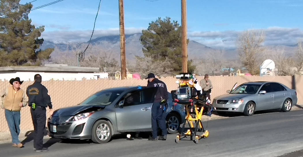 Selwyn Harris/Pahrump Valley Times One person was transported to Desert View Hospital following a three vehicle collision along Wilson Road between Center and West Street On Monday afternoon Jan. ...