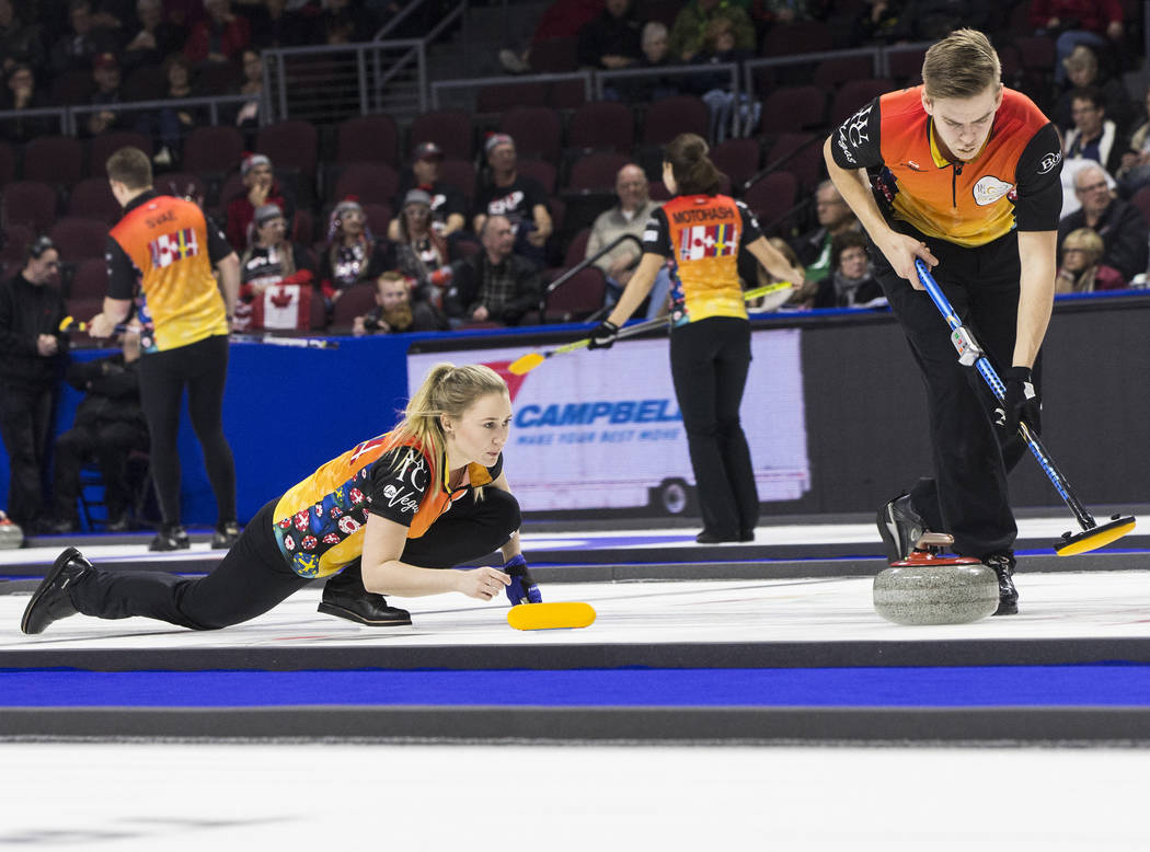 Benjamin Hager/Las Vegas Review-Journal Sara McManus, left, and Christoffer Sundgren compete in mixed doubles during the 2017 World Financial Group Continental Cup on Jan. 13, 2017, at the Orlean ...