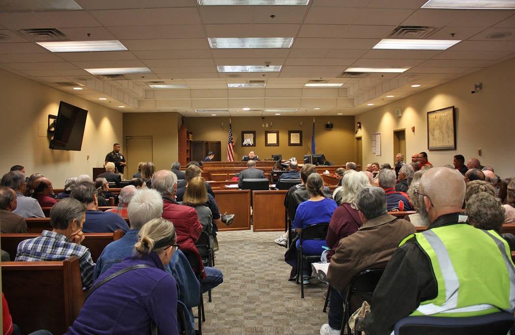 Robin Hebrock/Pahrump Valley Times Judge Robert Lane presided over the first hearing in Ed Goedhart's Assembly appointment lawsuit on Jan. 8 and a huge crowd gathered to observe. The room was so f ...