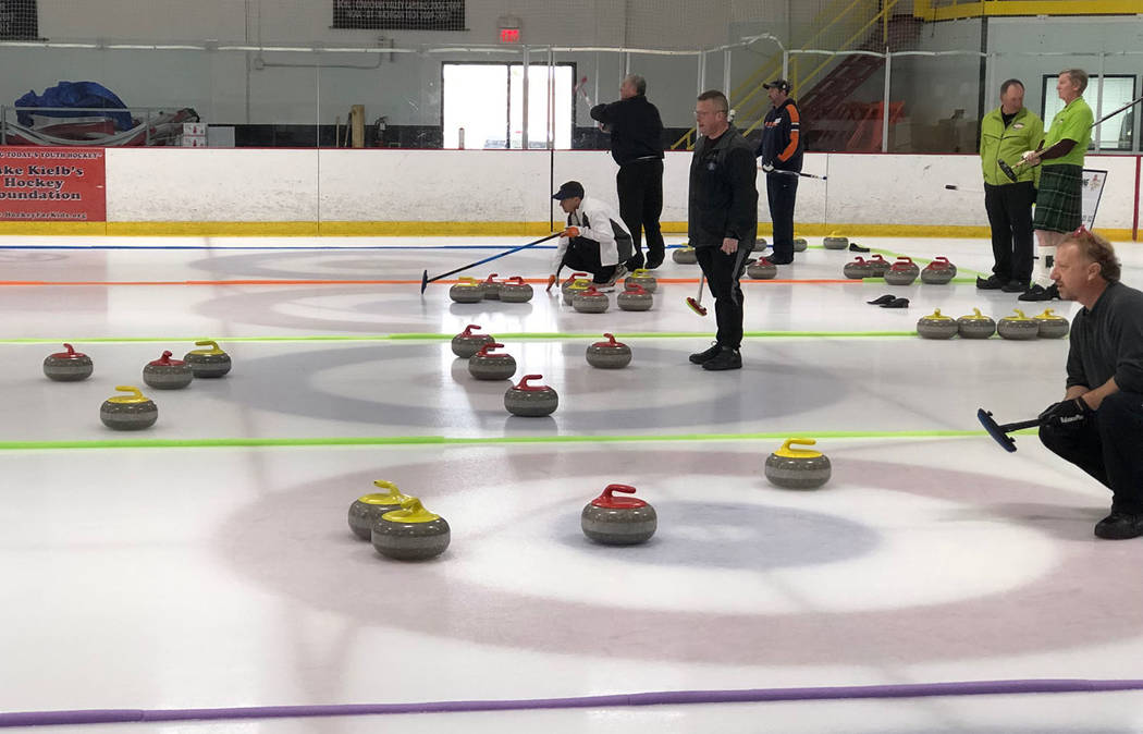 Tom Rysinski/Pahrump Valley Times Curling stones were everywhere as the Las Vegas Ice Center hosted multiple games at a time during the Sin Sity Spiel hosted Jan. 11-13 by the Las Vegas Curling Club.