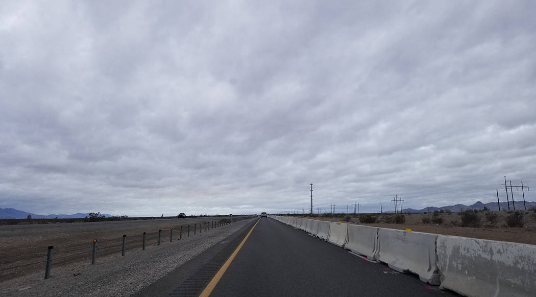 David Jacobs/Special to the Pahrump Valley Times A temporary barrier has been placed on the west-bound lanes of Highway, where traffic is being redirected to accommodate a roadbed modification pro ...