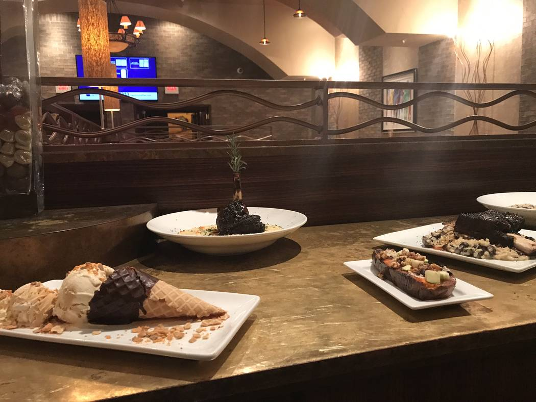 Jeffrey Meehan/Pahrump Valley Times Pictured is several new dessert options Stockman's Steakhouse is offering up to its diners: The sorbet sampler and the chocolate mousse cake are just a couple o ...