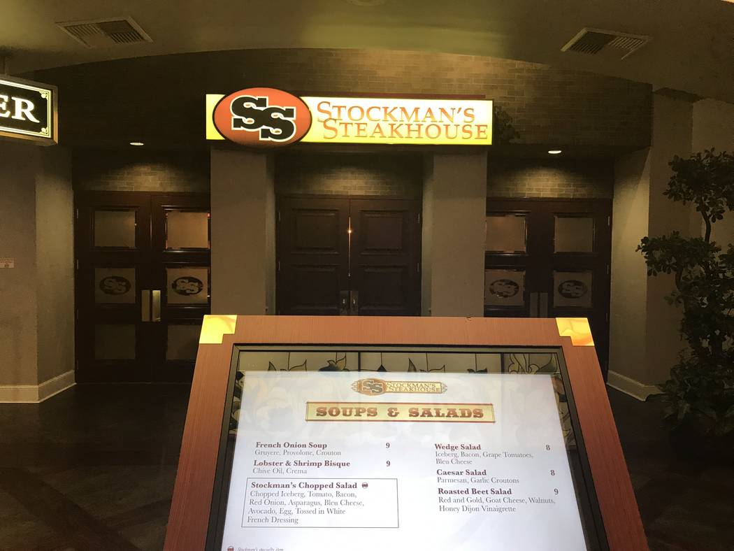 Jeffrey Meehan/Pahrump Valley Times The entrance to Stockman's Steakhouse, where passerby can check out the menu. The restaurant, inside the Pahrump Nugget, recently added to its menu.