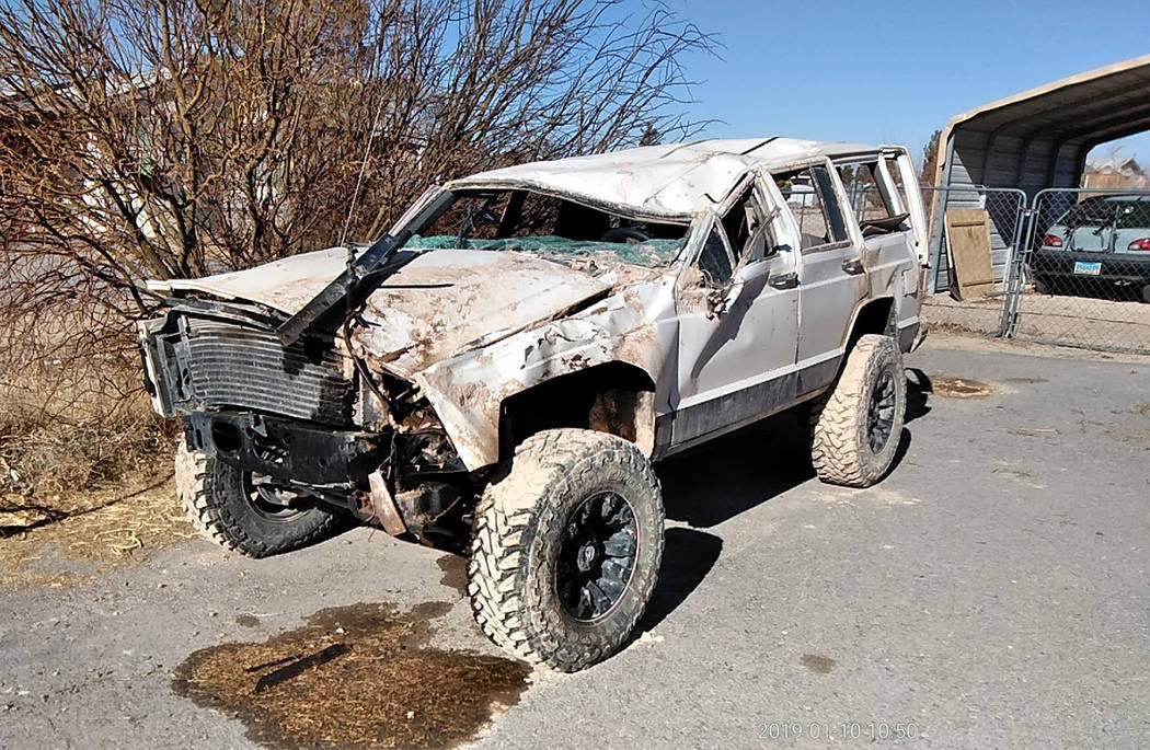 Selwyn Harris/Pahrump Valley Times Early last month, 20 year Pahrump resident Nathaniel Felix experienced a life-changing event after he rolled his 1996 Jeep Cherokee at dry lake bed on the southe ...