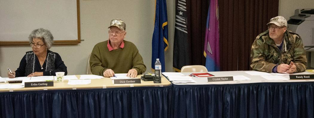 Richard Stephens/Special to the Pahrump Valley Times The Beatty Town Advisory Board officers for 2019 are Chairman Dick Gardner (center), Vice Chairman Randy Reed (right), and Treasurer Erika Gerl ...
