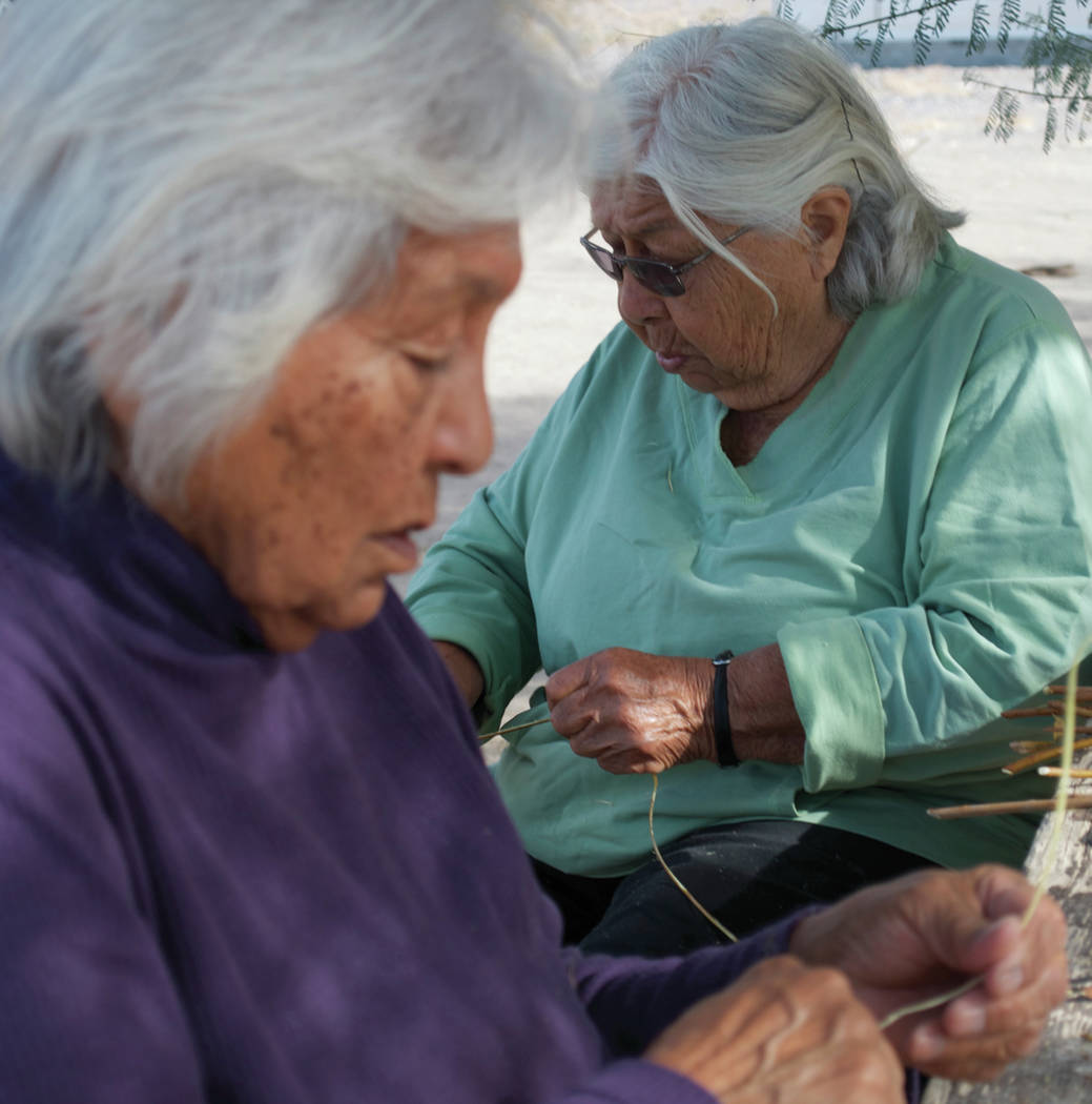 Special to the Pahrump Valley Times Pauline Esteves, right, and her sister-in-law, Maddie Esteves, of the Timbisha Shoshone tribe, are shown making baskets.