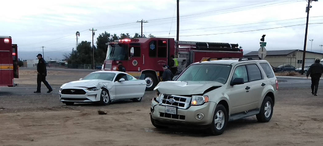 Selwyn Harris/Pahrump Valley Times The intersection of Mesquite Avenue and Blagg Road was the scene of a two-vehicle crash at 10:15 a.m. on Tuesday Jan. 15. At least one person was transported to ...
