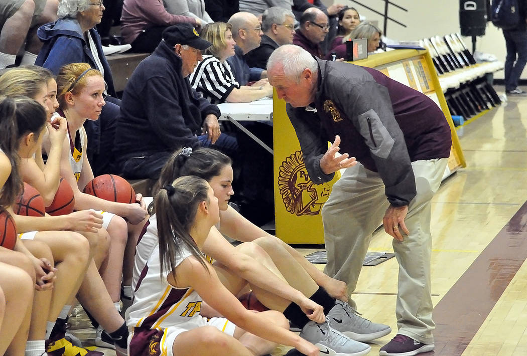 Horace Langford Jr./Pahrump Valley Times Pahrump Valley girls basketball coach Bob Hopkins talks to his team before Friday night's game against Boulder City in Pahrump.