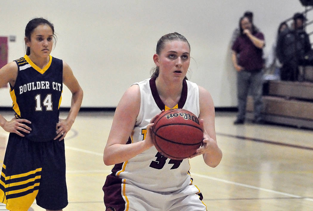 Horace Langford Jr./Pahrump Valley Times Junior forward Kylie Stritenberger, shown shooting a free throw Friday against Boulder City, scored 9 points during Pahrump Valley's 46-33 win over Western ...