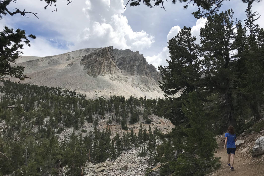 A hiker walks toward Jeff Davis Peak at Great Basin National Park on July 21. The Nevada State Board of Geographic Names on Tuesday voted to recommend that the Confederate president's name be remo ...
