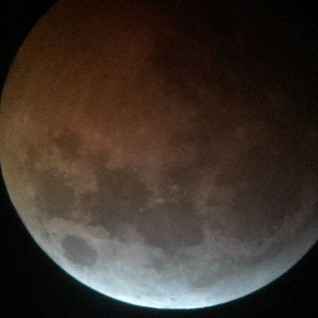 """Pearl Lowell/Special to the Pahrump Valley Times The """"super blood wolf moon"""" as seen from the south end of town on Sunday night. The next total lunar eclipse is pegged to be in May 2021."""