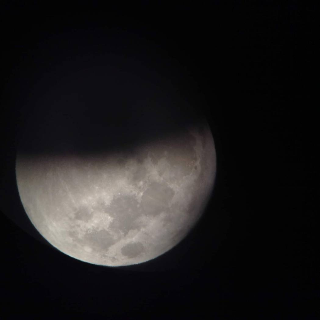 Pearl Lowell/Special to the Pahrump Valley Times The moon as seen half way through the total lunar eclipse on Sunday night. The photo was taken by Pahrump Valley Times' reader Pearl Lowell on the ...