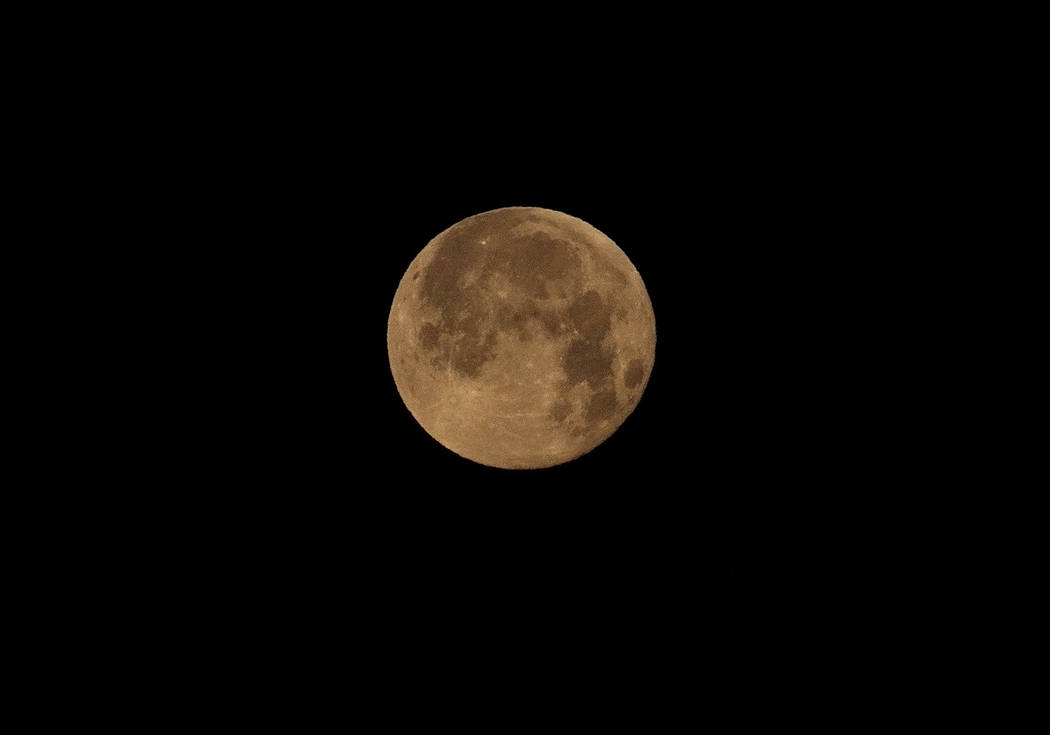 Horace Langford Jr./Special to the Pahrump Valley Times Total lunar eclipse as seen from the Pahrump area on Sunday.