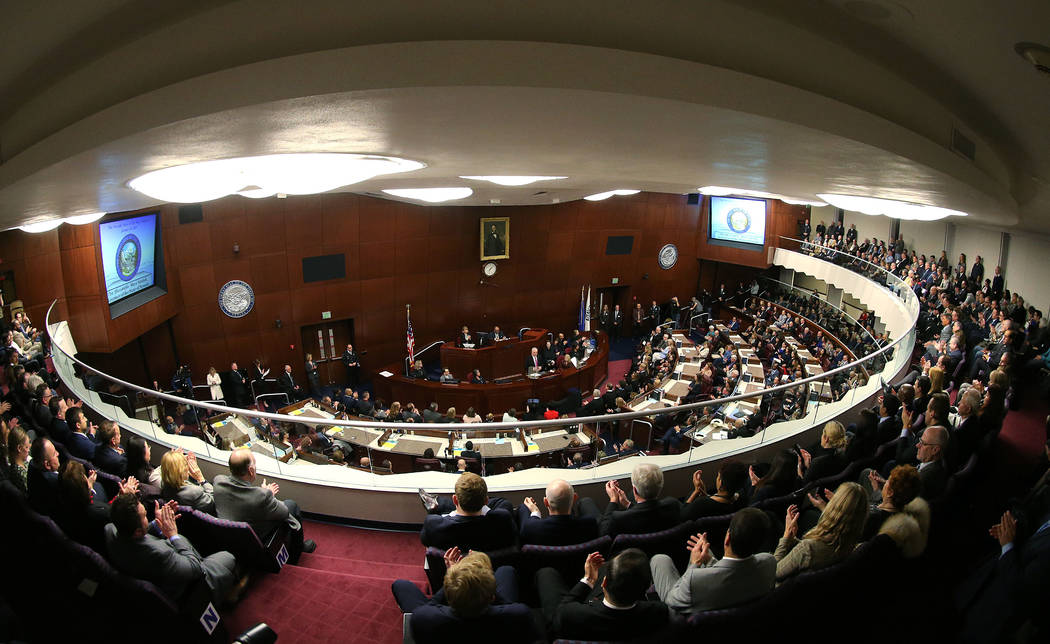 Nevada Gov. Steve Sisolak delivers his State of the State address to a large crowd in Carson City, Nev., on Wednesday, Jan. 16, 2019. (Cathleen Allison/Las Vegas Review-Journal)