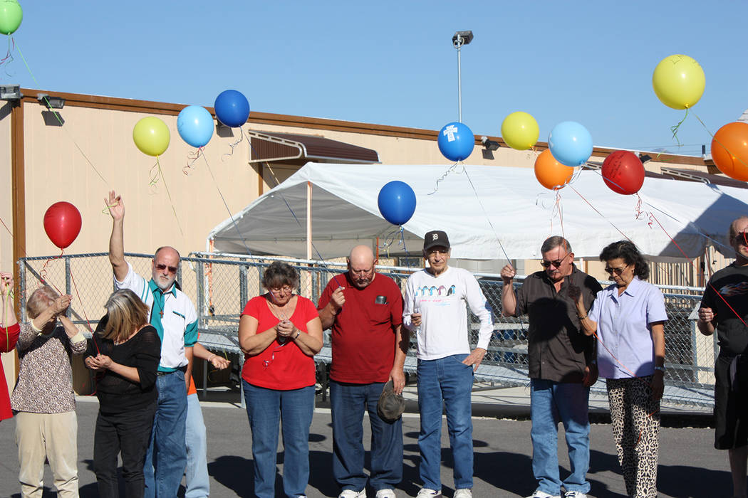 Special to the Pahrump Valley Times Taken in 2016, this photo shows a group of GriefShare participants commemorating the end of their 13-week course with a celebration of life balloon release cere ...
