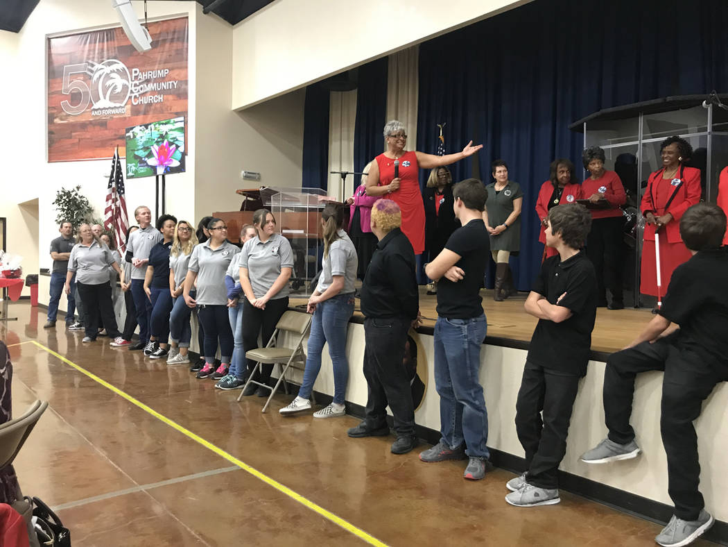 Vern Hee/Special to the Pahrump Valley Times Pahrump Martin Luther King Jr. Scholarship Foundation officials offer thanks to the committee members, Pahrump Valley Key Club and AmeriCorps volunteer ...