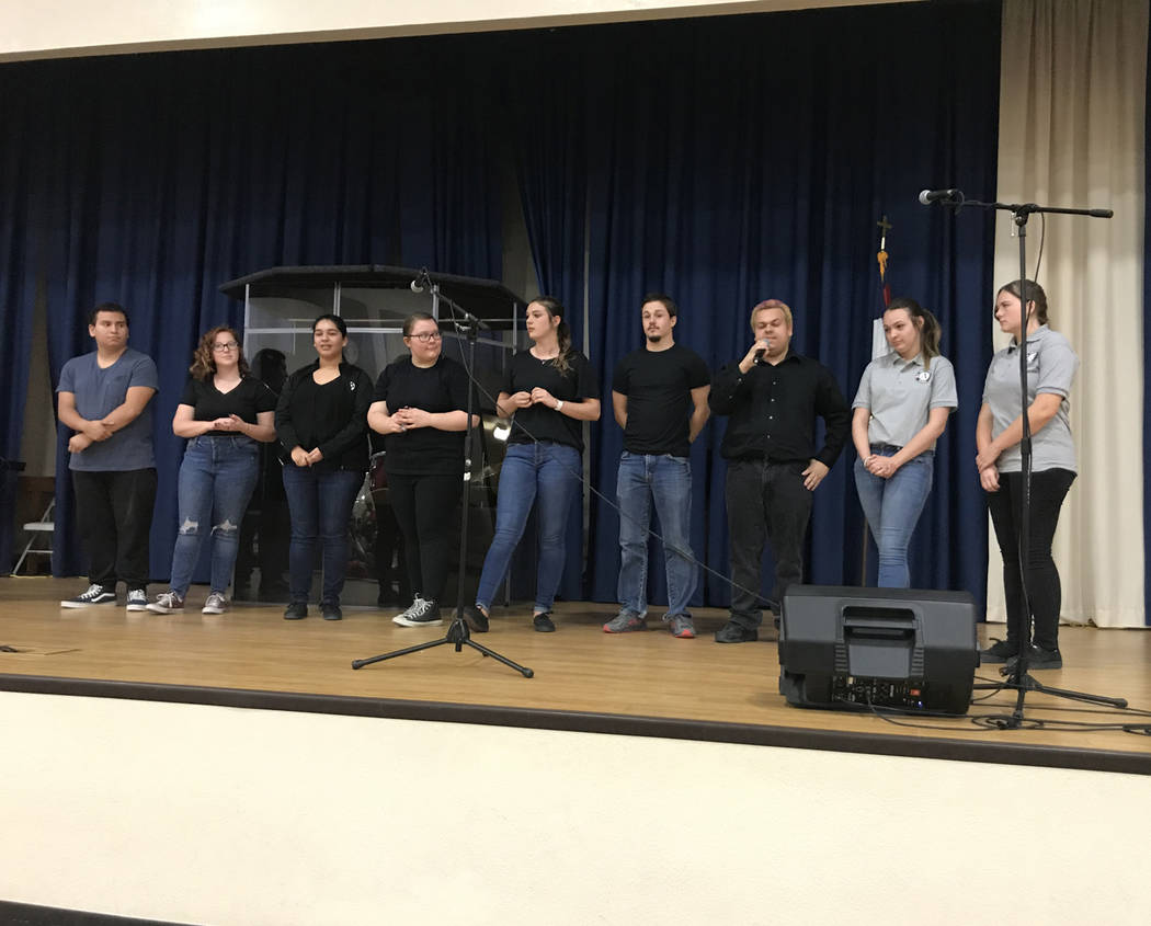 Vern Hee/Special to the Pahrump Valley Times High school seniors from both Key Club and AmeriCorps were invited on stage to share where they are planning to go to college, to inspire attendees to ...