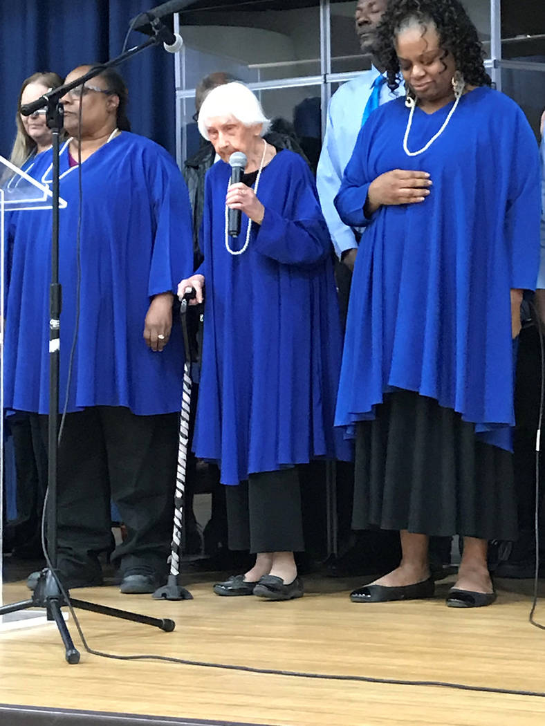 Vern Hee/Special to the Pahrump Valley Times The Blind Singers of Las Vegas perform during the All People's Lunch, held Jan. 21 at the Pahrump Community Church.