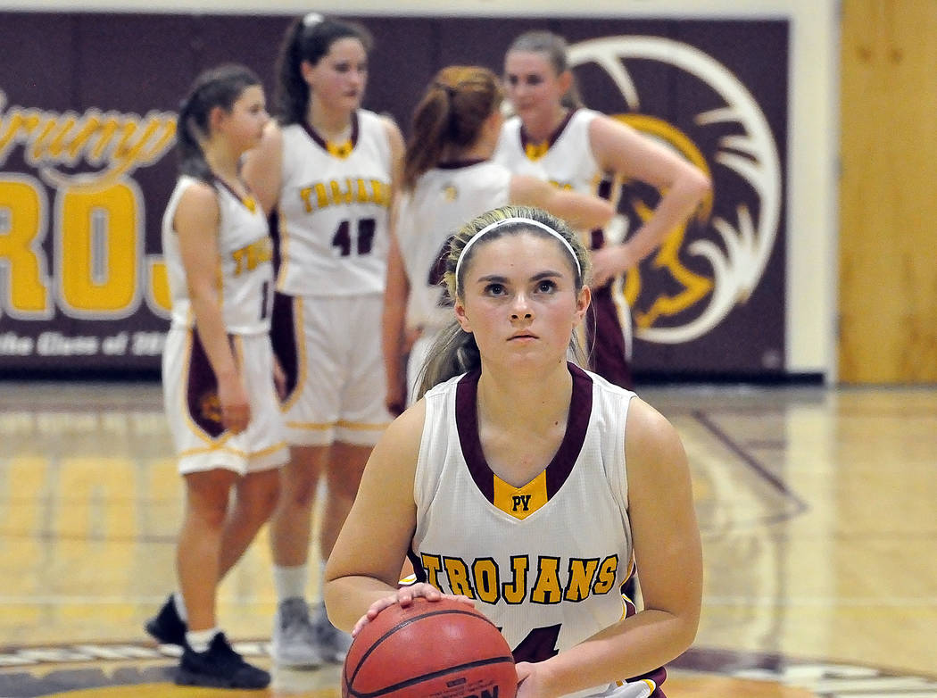 Horace Langford Jr./Pahrump Valley Times Pahrump Valley's Maddie Hansen shoots free throws after a technical foul was called on Mojave's bench during the fourth quarter Tuesday night's game in Pah ...