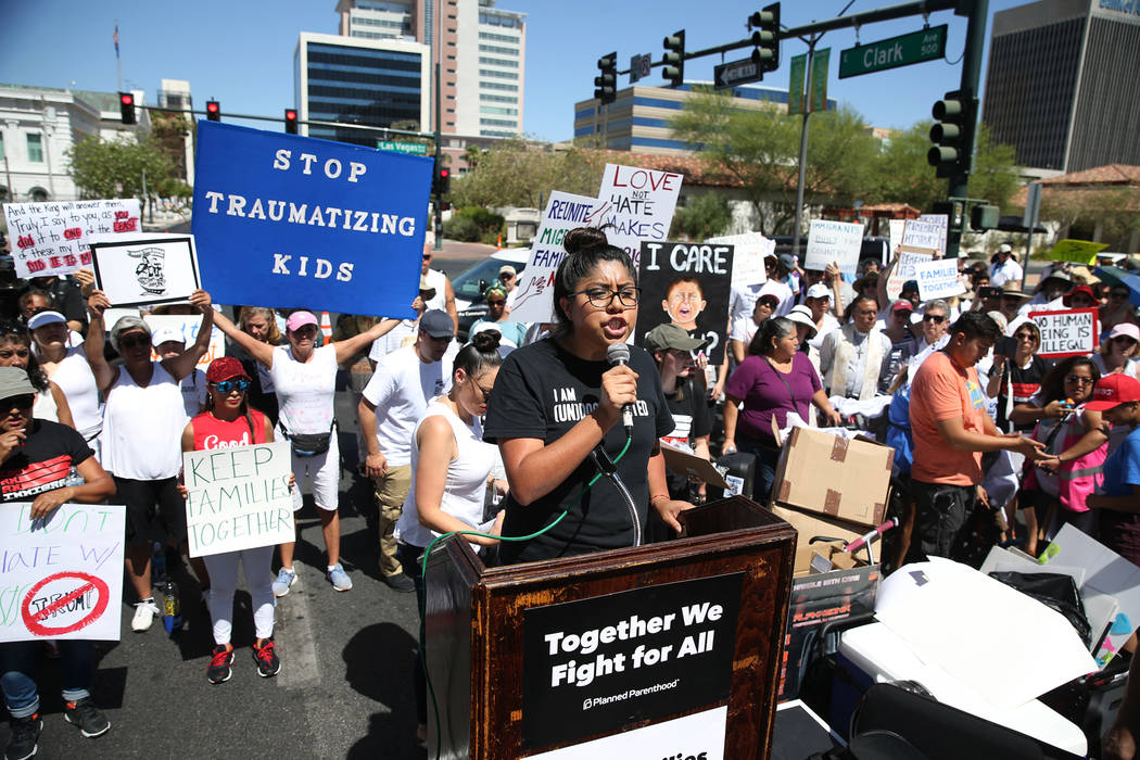 Erik Verduzco/Las Vegas Review-Journal Erika Castro, organizer for the Progressive Leadership Alliance of Nevada, speaks during a rally against the separation of immigrant families outside of the ...