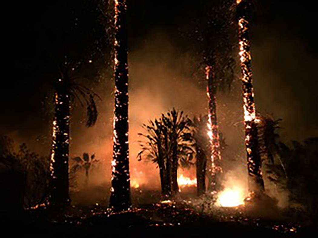 Alison Calkins/Special to the Pahrump Valley Times Southern Inyo Fire Department crews were joined by Pahrump and Bishop fire department, and all fires under control by about 7 p.m. Tuesday.
