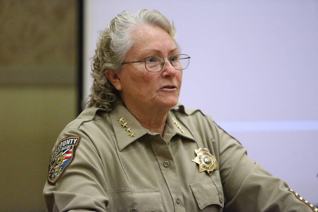 Erik Verduzco/Las Vegas Review-Journal Nye County Sheriff Sharon Wehrly speaks on her department using Viridian Weapon Technologies weapon mounted camera during the SHOT Show at the Sands Expo Con ...