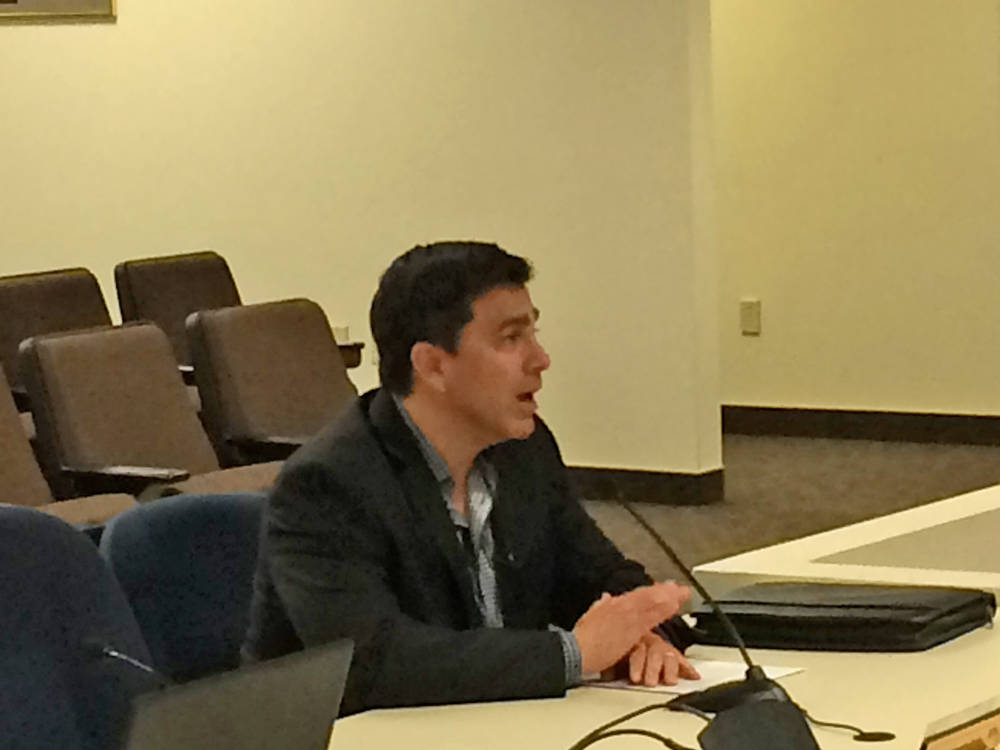 Robin Hebrock/Pahrump Valley Times Newly appointed Nye County Treasurer John Prudhont is pictured addressing the Nye County Commission at its Jan. 23 meeting, when the result of the previous days' ...