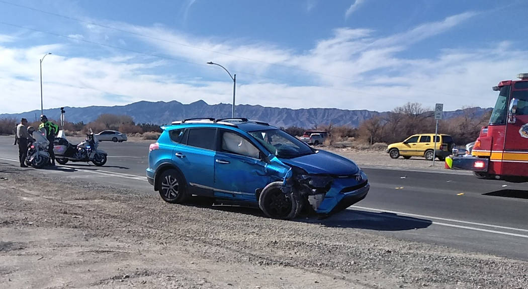 Selwyn Harris/Pahrump Valley Times One person riding in a late model blue SUV was transported to Desert View Hospital following a two-vehicle collision at the intersection of Homestead and Manse R ...