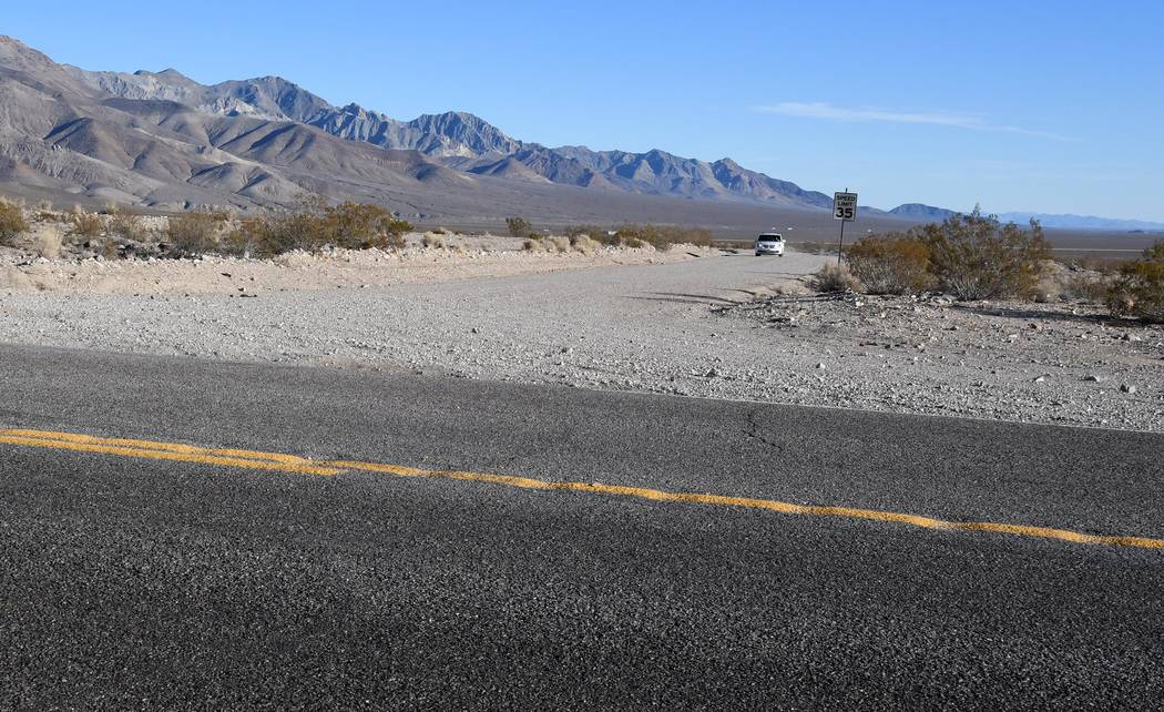Richard Stephens/Special to the Pahrump Valley Times A tourist's car approaches Highway 374 from the Beatty Airport Road.