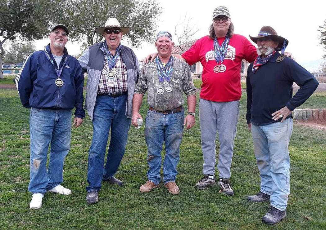 Special to the Pahrump Valley Times From left, Mark Kaczmarek, Dennis Andersen, Dave Barefield, Lathan Dilger and Dok Hembree of Pahrump combined to win nine medals in horseshoes and four in cornh ...