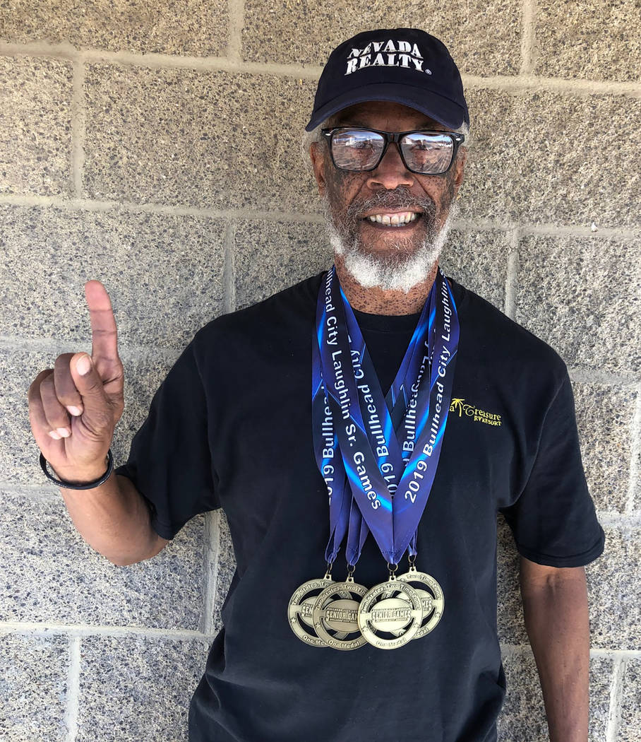 Tom Rysinski/Pahrump Valley Times Marvin Caperton, 64, of Pahrump won the 50-, 100- and 200-meter races and was part of the winning 4x100-meter relay at the Bullhead City/Laughlin Senior Games.