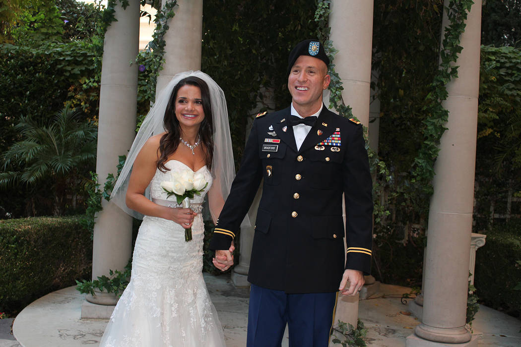 Chuck N. Baker/Special to the Pahrump Valley Times Army Major Adam Bradford and wife Courtney Bradford renew their vows.