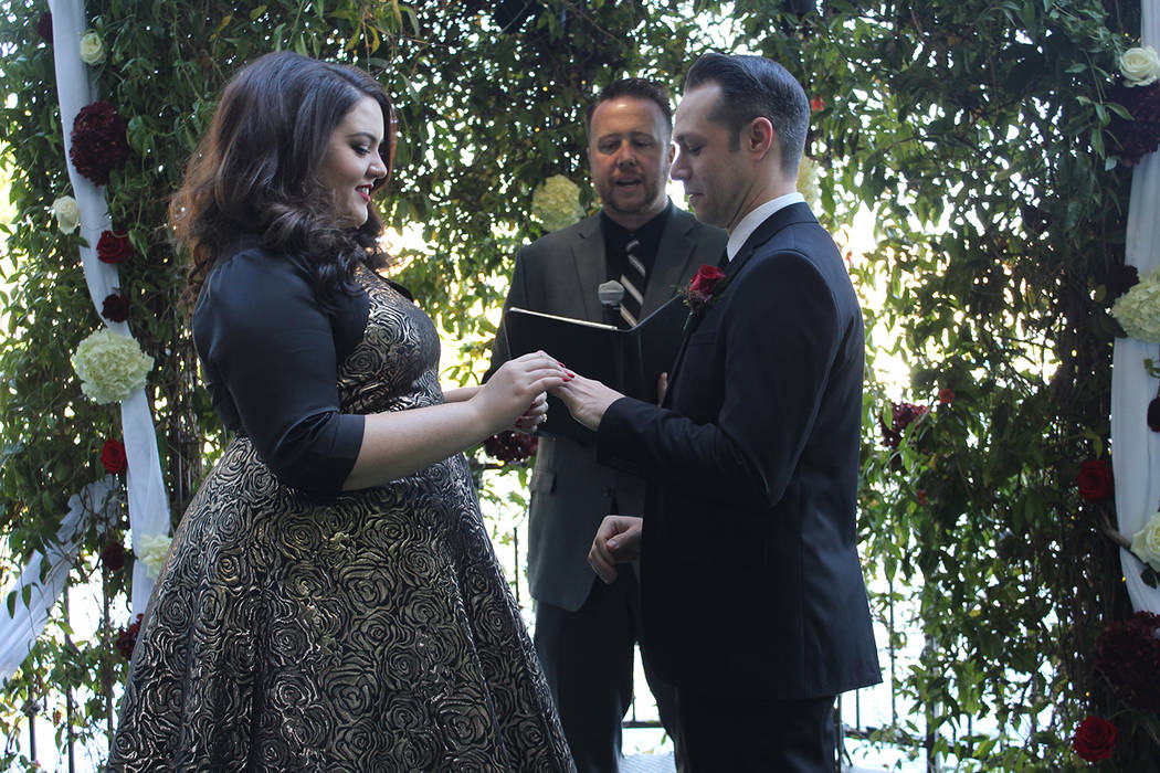 Chuck N. Baker/Special to the Pahrump Valley Times Air Force Reservist Sgt. Andrew Parker and his bride, Rachael Campos marry after a nine-year courtship.
