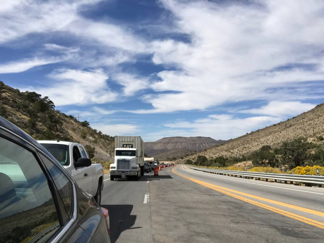 Jeffrey Meehan/Pahrump Valley Times Traffic builds up along Highway 160 as the road closes at the western edge of Mountain Springs on Sept. 24, 2018. Periodic closures are expected in the area as ...