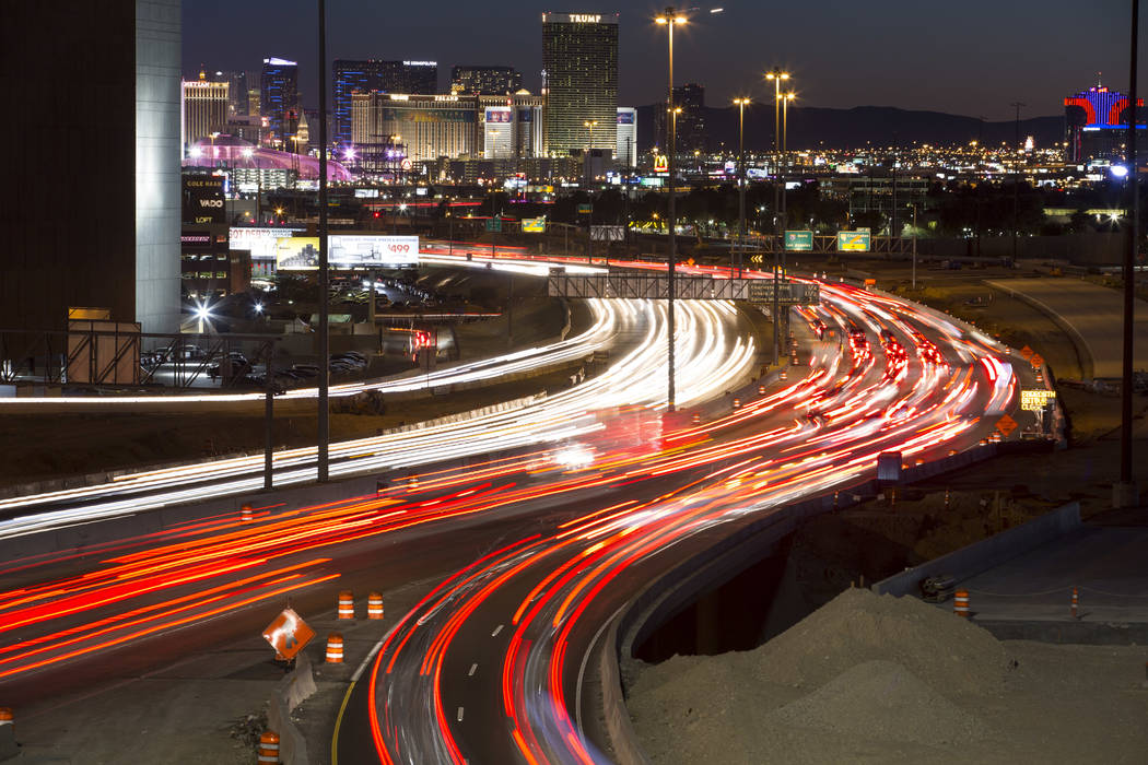 Traffic moves along Interstate 15 as seen from the Spaghetti Bowl in Las Vegas on Sunday, January 28, 2018. Richard Brian/Las Vegas Review-Journal @vegasphotograph